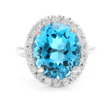 Load image into Gallery viewer, 11.00 Carats Impressive Natural Swiss Blue Topaz and Diamond 14K Solid White Gold Ring