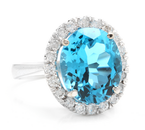 11.00 Carats Impressive Natural Swiss Blue Topaz and Diamond 14K Solid White Gold Ring