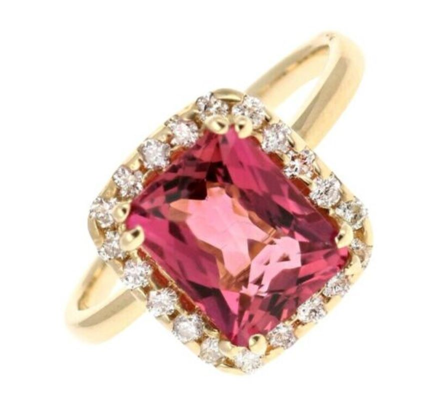 3.35 Carats Natural Very Nice Looking Tourmaline and Diamond 14K Solid Yellow Gold Ring