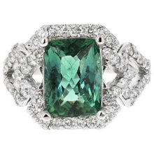 Load image into Gallery viewer, 4.95 Carats Natural Very Nice Looking Green Tourmaline and Diamond 14K Solid White Gold Ring