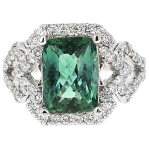 4.95 Carats Natural Very Nice Looking Green Tourmaline and Diamond 14K Solid White Gold Ring