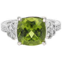 Load image into Gallery viewer, 5.85 Carats Natural Very Nice Looking Peridot and Diamond 14K Solid White Gold Ring