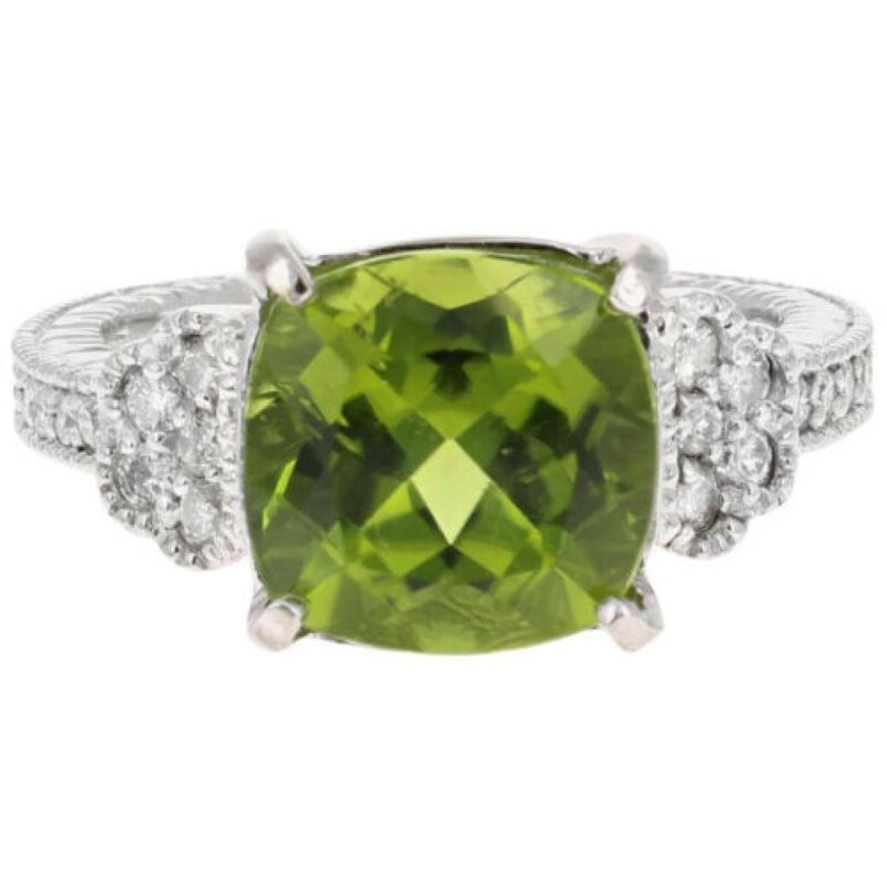 5.85 Carats Natural Very Nice Looking Peridot and Diamond 14K Solid White Gold Ring
