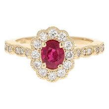 Load image into Gallery viewer, 1.70 Carats Impressive Natural Red Ruby and Diamond 14K Yellow Gold Ring