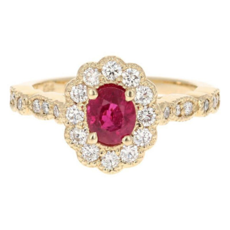 1.70 Carats Impressive Natural Red Ruby and Diamond 14K Yellow Gold Ring