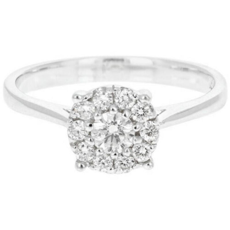 Splendid 0.45 Carats Natural Diamond 14K Solid White Gold Band Ring