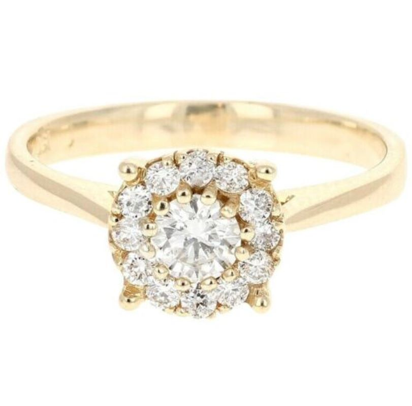 Splendid 0.45 Carats Natural Diamond 14K Solid Yellow Gold Band Ring