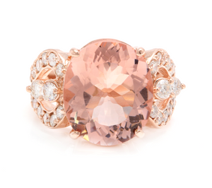 10.15 Carats Exquisite Natural Morganite and Diamond 14K Solid Rose Gold Ring