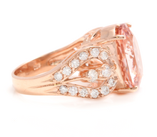 Load image into Gallery viewer, 10.15 Carats Exquisite Natural Morganite and Diamond 14K Solid Rose Gold Ring