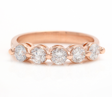 Load image into Gallery viewer, Splendid 0.85 Carats Natural Diamond 14K Solid Rose Gold Ring