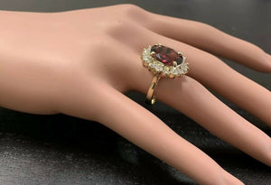 8.50 Carats Natural Very Nice Looking Tourmaline and Diamond 14K Solid Yellow Gold Ring