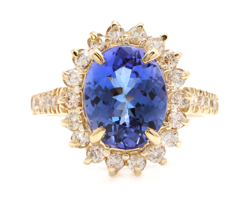 3.80 Carats Natural Very Nice Looking Tanzanite and Diamond 14K Solid Yellow Gold Ring