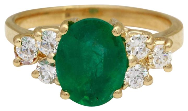 2.25 Carats Natural Emerald and Diamond 14K Solid Yellow Gold Ring