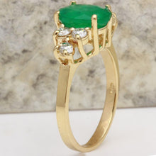 Load image into Gallery viewer, 2.25 Carats Natural Emerald and Diamond 14K Solid Yellow Gold Ring