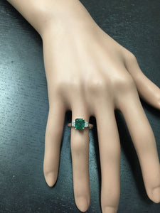 2.25 Carats Natural Emerald and Diamond 14K Solid White Gold Ring