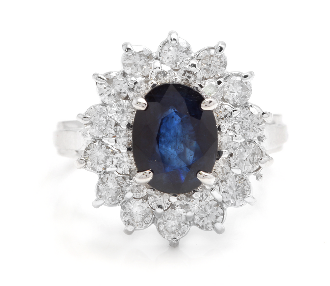 3.00 Carats Natural Blue Sapphire and Diamond 14K Solid White Gold Ring