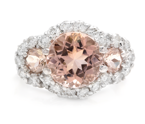 5.25 Carats Exquisite Natural Peach Morganite and Diamond 18K Solid White Gold Ring