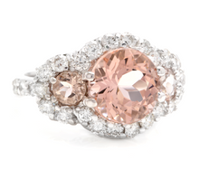 Load image into Gallery viewer, 5.25 Carats Exquisite Natural Peach Morganite and Diamond 18K Solid White Gold Ring