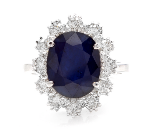 7.20 Carats Natural Sapphire and Diamond 18K Solid White Gold Ring