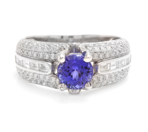 2.60 Carats Natural Very Nice Looking Tanzanite and Diamond 18K Solid White Gold Ring