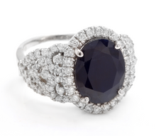 Load image into Gallery viewer, 7.25 Carats Exquisite Natural Blue Sapphire and Diamond 14K Solid White Gold Ring
