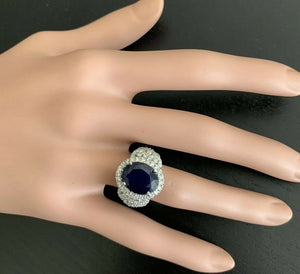7.25 Carats Exquisite Natural Blue Sapphire and Diamond 14K Solid White Gold Ring