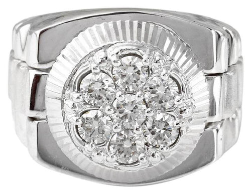 1.25 Carats Natural Diamond 14K Solid White Gold Men's Ring