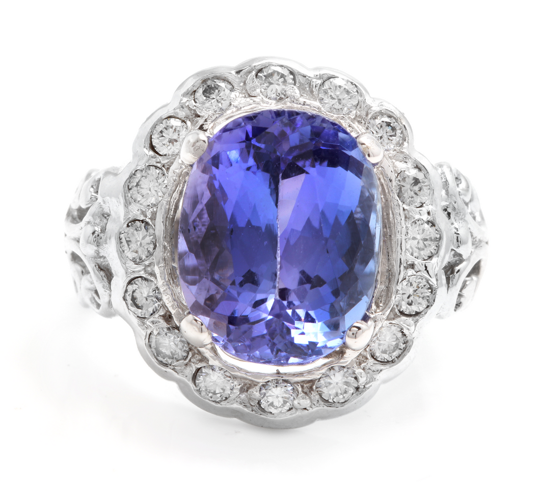 6.50 Carats Natural Very Nice Looking Tanzanite and Diamond 14K Solid White Gold Ring