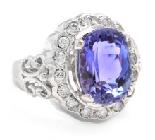 Load image into Gallery viewer, 6.50 Carats Natural Very Nice Looking Tanzanite and Diamond 14K Solid White Gold Ring