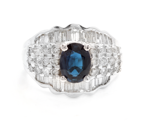3.46 Carats Exquisite Natural Blue Sapphire and Diamond 18K Solid White Gold Ring