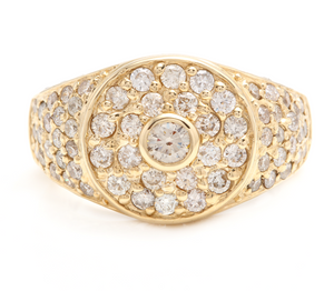 2.75Ct Natural Diamond 14K Solid Yellow Gold Men's Ring
