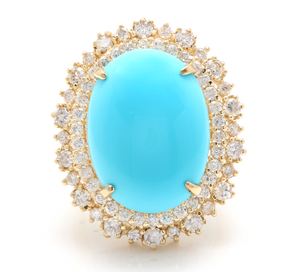 13.00 Carats Impressive Natural Turquoise and Diamond 14K Yellow Gold Ring