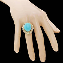 Load image into Gallery viewer, 13.00 Carats Impressive Natural Turquoise and Diamond 14K Yellow Gold Ring