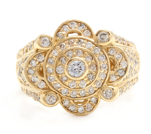 3.00Ct Natural Diamond 14K Solid Yellow Gold Men's Ring