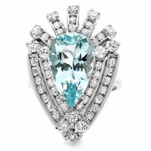 7.20 Carats Natural Gorgeous Aquamarine and Diamond 14K Solid White Gold Ring