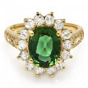 3.60 Carats Natural Very Nice Looking Green Tourmaline and Diamond 14K Solid Yellow Gold Ring
