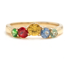 Load image into Gallery viewer, 1.00 Carats Exquisite Natural Multi-Color Sapphire 14K Solid Yellow Gold Ring