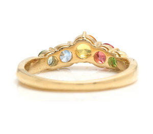 1.00 Carats Exquisite Natural Multi-Color Sapphire 14K Solid Yellow Gold Ring