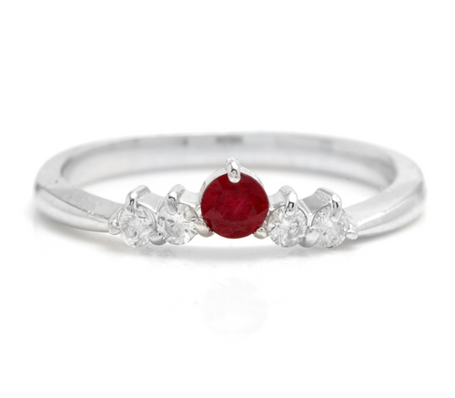 Impressive Natural Untreated Ruby and Natural Diamond 14K White Gold Ring