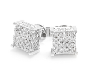 Exquisite 1.40 Carats Natural Diamond 14K Solid White Gold Stud Earrings