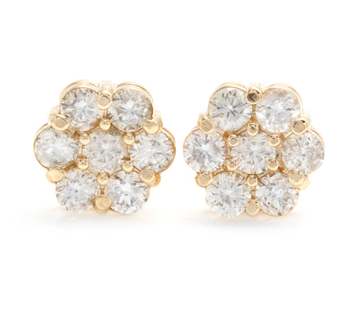 Exquisite 1.00 Carats Natural Diamond 14K Solid Yellow Gold Stud Earrings