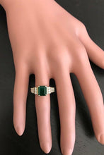 Load image into Gallery viewer, 2.80 Carats Natural Emerald and Diamond 14K Solid Yellow Gold Ring