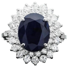 Load image into Gallery viewer, 6.00 Carats Exquisite Natural Blue Sapphire and Diamond 14K Solid White Gold Ring