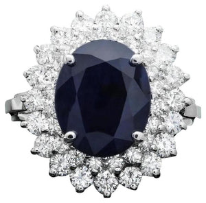 6.00 Carats Exquisite Natural Blue Sapphire and Diamond 14K Solid White Gold Ring