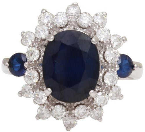 5.55 Carats Exquisite Natural Blue Sapphire and Diamond 14K Solid White Gold Ring