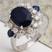 Load image into Gallery viewer, 5.55 Carats Exquisite Natural Blue Sapphire and Diamond 14K Solid White Gold Ring