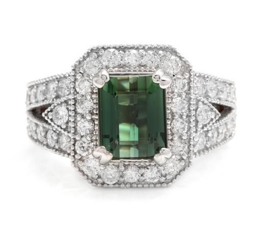 4.90 Carats Natural Very Nice Looking Green Tourmaline and Diamond 18K Solid White Gold Ring