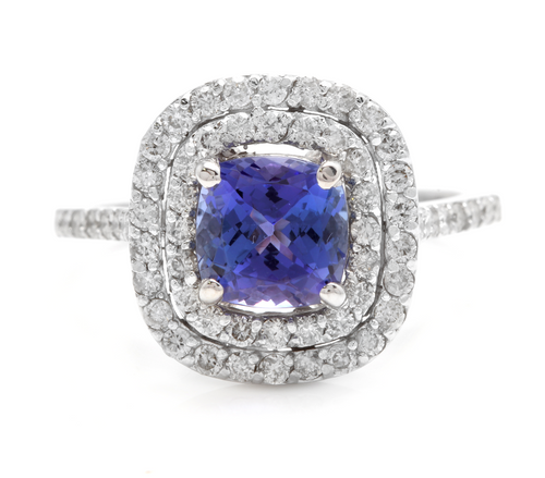 2.60 Carats Natural Very Nice Looking Tanzanite and Diamond 14K Solid White Gold Ring