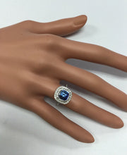 Load image into Gallery viewer, 2.60 Carats Natural Very Nice Looking Tanzanite and Diamond 14K Solid White Gold Ring