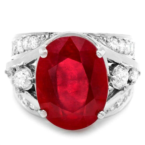 13.10 Carats Impressive Natural Red Ruby and Diamond 14K White Gold Ring
